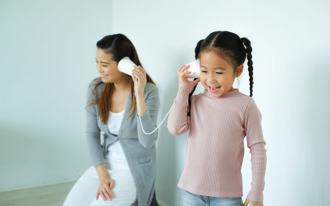 kids' hearing protection -- kids playing telephone